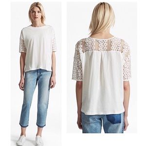 French Connection Dune Lace Crochet Oversized Tee